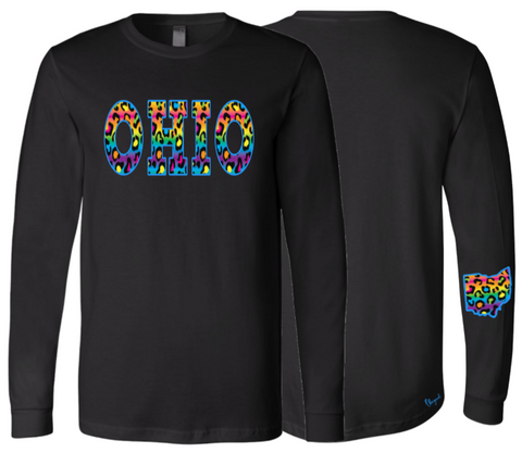 Rainbow Leopard Print Ohio Long Sleeve Tee