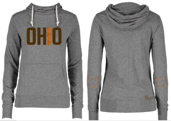 Ladies Brown & Orange Ohio Funnel Neck Hooded Long Sleeve Tee