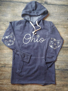 CLOSEOUT SALE - Sparkle Snowflake Ohio -Heather Navy Ladies Hooded Fleece Pullover