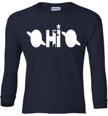 Youth Glow Space Ohio Long Sleeve Tee