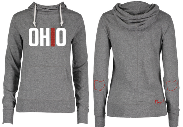 Ladies Grey & Red Sparkle Ohio Funnel Neck Hooded Long Sleeve Tee
