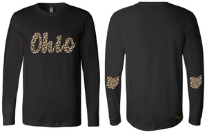 Leopard Print Scripty Ohio Long Sleeve Tee
