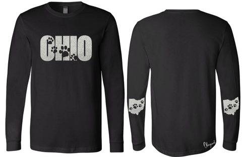 Ohriginal Sparkle Paw Print Ohio Long Sleeve