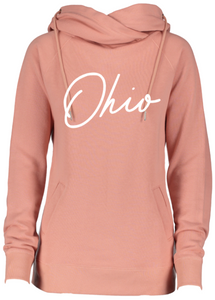 Ladies Rose Ohio Funnel Neck Hooded Fleece