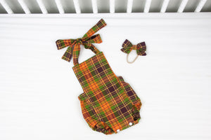 Orange, Green, Brown Plaid Romper