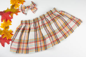 Orange Flannel Plaid Skirt