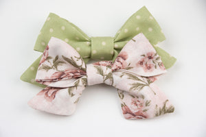 Dusty Rose Floral & Sage Bows