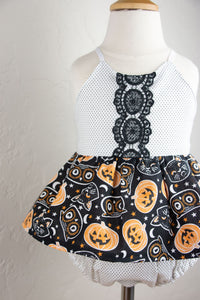 Cat and Pumpkin Halloween Skirted Romper