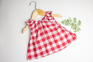 Red Gingham Tunic Top