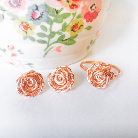 Valentines Day Gift - Rose Gold Ring Earring Set - Zoe's Handmade Planet