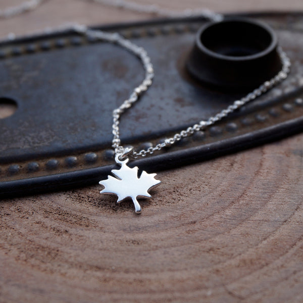 Maple Leaf Sterling Silver Necklace - Zoe's Handmade Planet