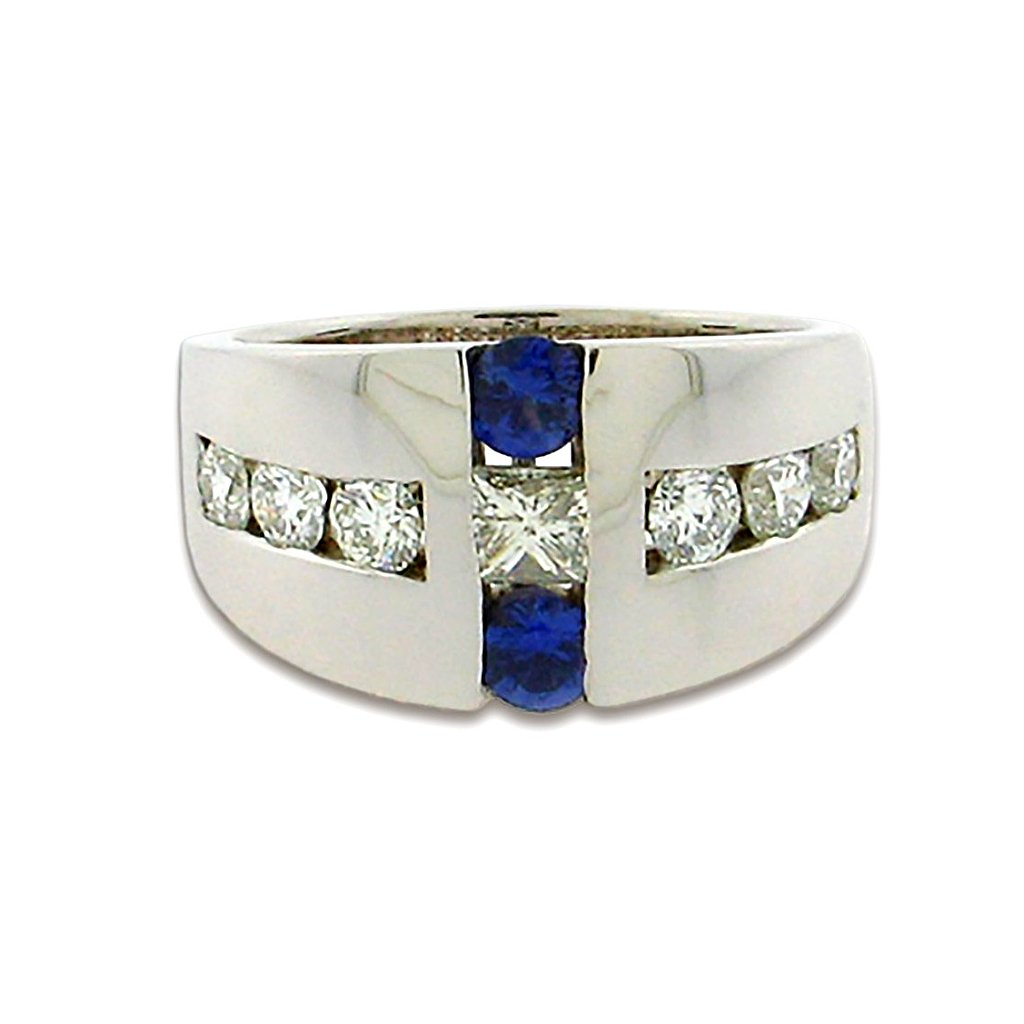 .90 ct total weight round sapphires  .95 ct total weight diamonds   14 kt white gold ring