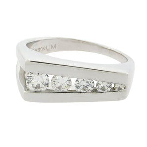 five diamonds set in 14 k white gold