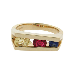 Sapphire and Spinel Tricolor Ring