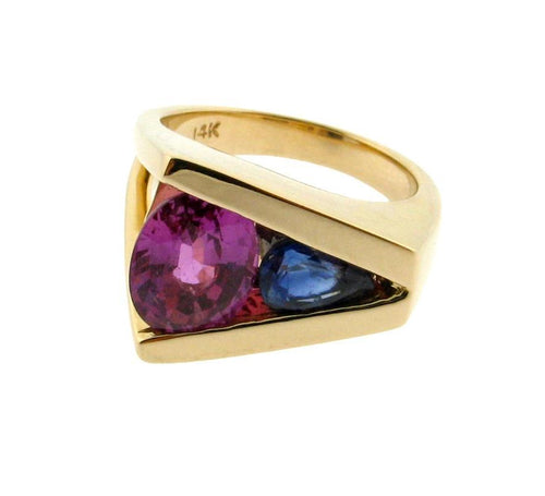 Pink and Blue Sapphire Deep V Ring