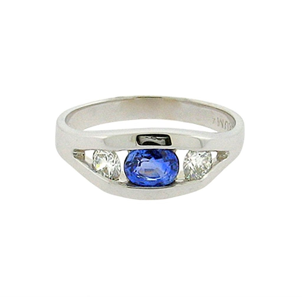 .5 ct oval sapphire  .29 ct round diamonds  14 k white gold ring
