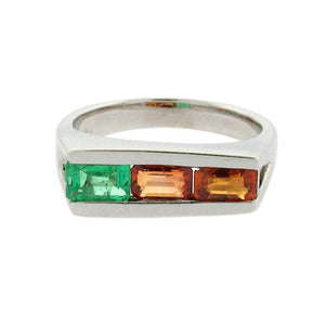 .63 ct emerald  .71 ct burnt orange sapphire  .65 ct bright orange sapphire set in a 14 k white gold ring
