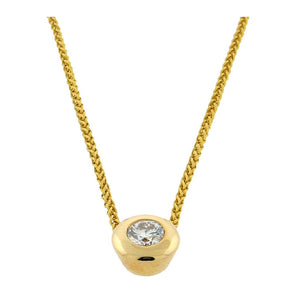.25 ct diamond pendant  14 k yellow gold necklace