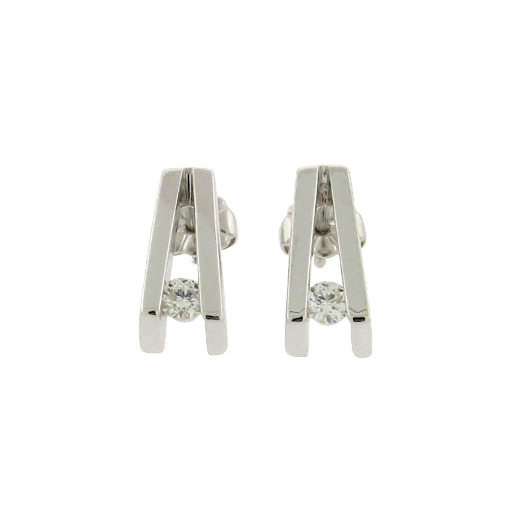 two round diamonds set in 14 k white gold V shaped studs