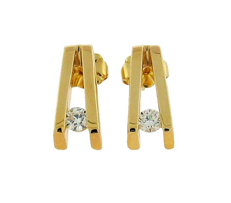 two round diamonds set in 14 k yellow gold v shaped studs
