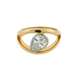 1 ct solitaire teardrop diamond  14 k yellow gold ring  platinum bezel