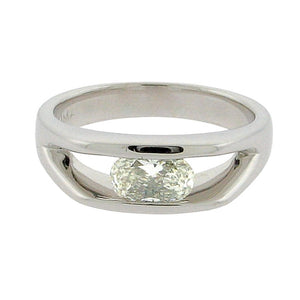 oval diamond set in a 14 k white gold ring