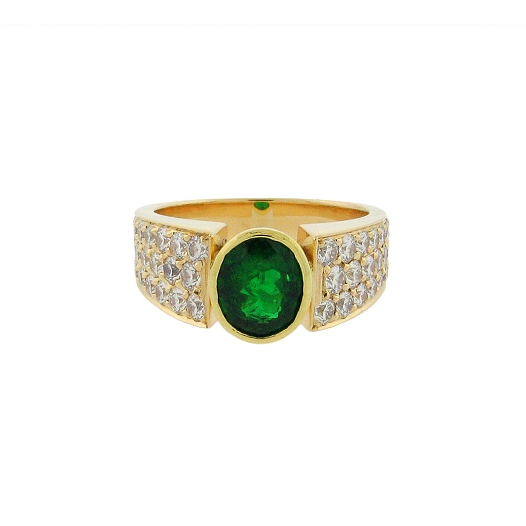 Emerald and Diamond Statement Ring