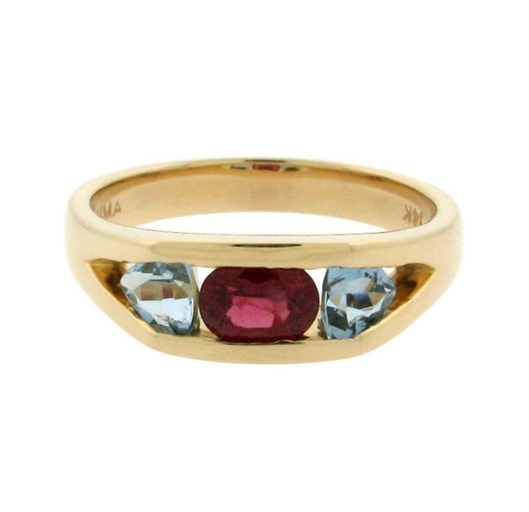 Red Spinel and Aquamarine Ring