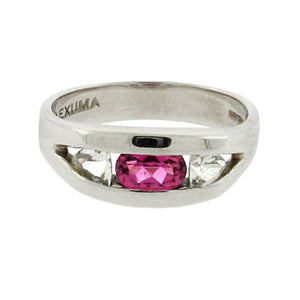 .49 ct oval pink tourmaline  .42 ct total weight trillion cut white sapphires  sterling silver ring