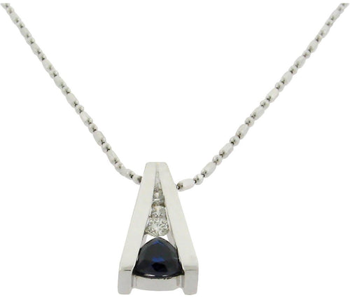 .56 ct sapphire  .14 ct total weight diamonds  14 k white gold necklace