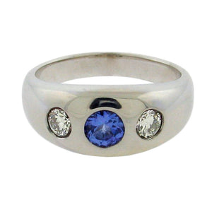 Burnish Set Sapphire and Diamond Ring