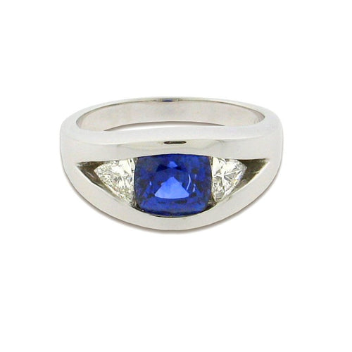 2.91 ct cushion cut sapphire  .80 ct trillion diamonds  14 k white gold ring