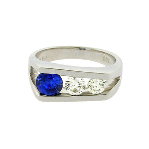 .75 ct round sapphire  .92 ct total weight round diamonds  14 k white gold ring
