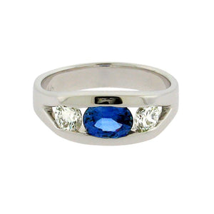 .79 ct sapphire  .51 ct total weight diamonds  14 k white gold ring