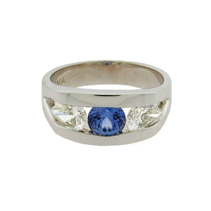 .88 ct round sapphire  .88 ct total weight round diamonds  14 k white gold ring