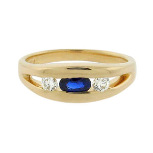 .29 ct sapphire  .17 ct total weight diamonds  14 k yellow gold ring