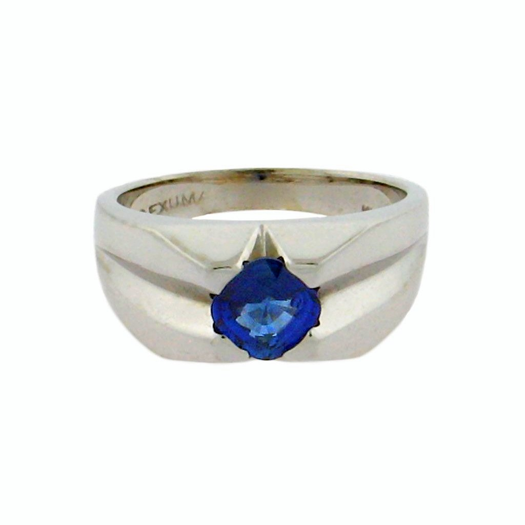 1.02 ct sapphire  14 k white gold ring
