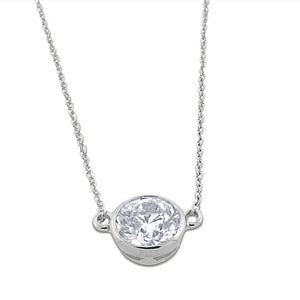 .40 diamond solitaire pendant   14 k white gold necklace