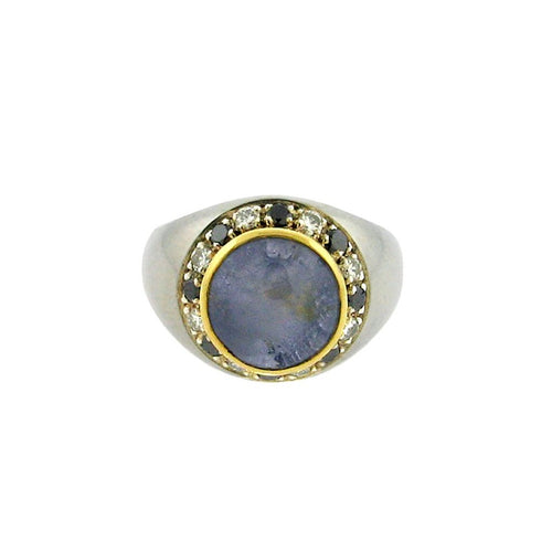 6.3 ct star sapphire  .32 black and white diamonds  sterling silver ring  14 k yellow gold bezel