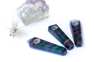 Rainbow Purple Fluorite Crystal Smoking Pipe