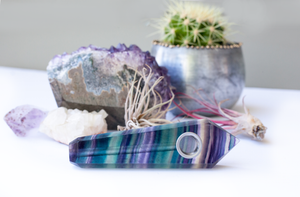 Rainbow Fluorite Crystal Pipe • Quartz Crystal Healing Bowl - lucidskins