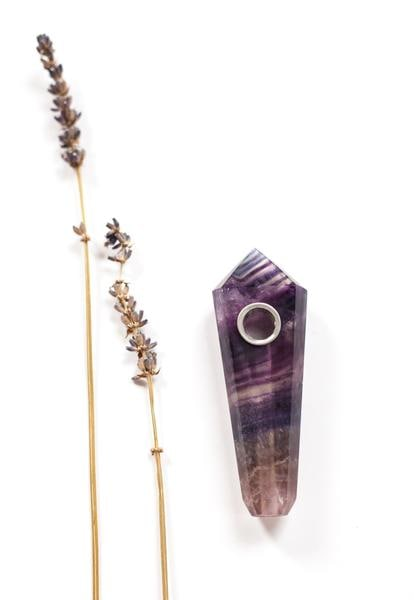 Rainbow Purple Fluorite Pipe • Quartz Healing Crystal Bowl w/ Screen