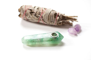Green Fluorite Crystal Pipe • Quartz Crystal Healing Bowl - lucidskins