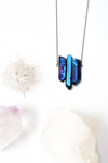Clytie • Titanium Electric Blue Quartz Triple Crystal Statement Necklace