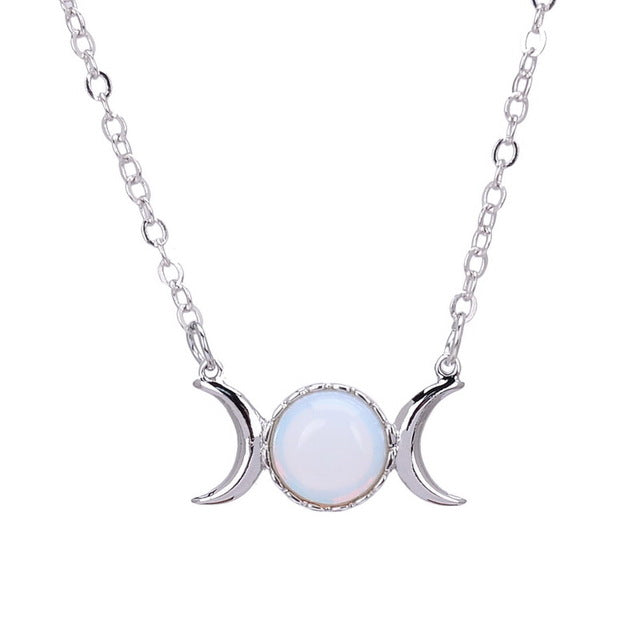 Sera • Opal Triple Goddess Moon Healing Crystal Natural Stone Sailor Moon Necklace - lucidskins