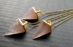 Gaia • Geometric Prism Pointed Triangle Crystal Necklace - lucidskins