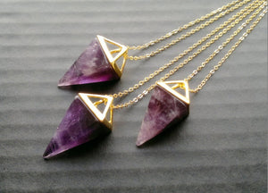 Gaia • Geometric Prism Pointed Triangle Crystal Necklace