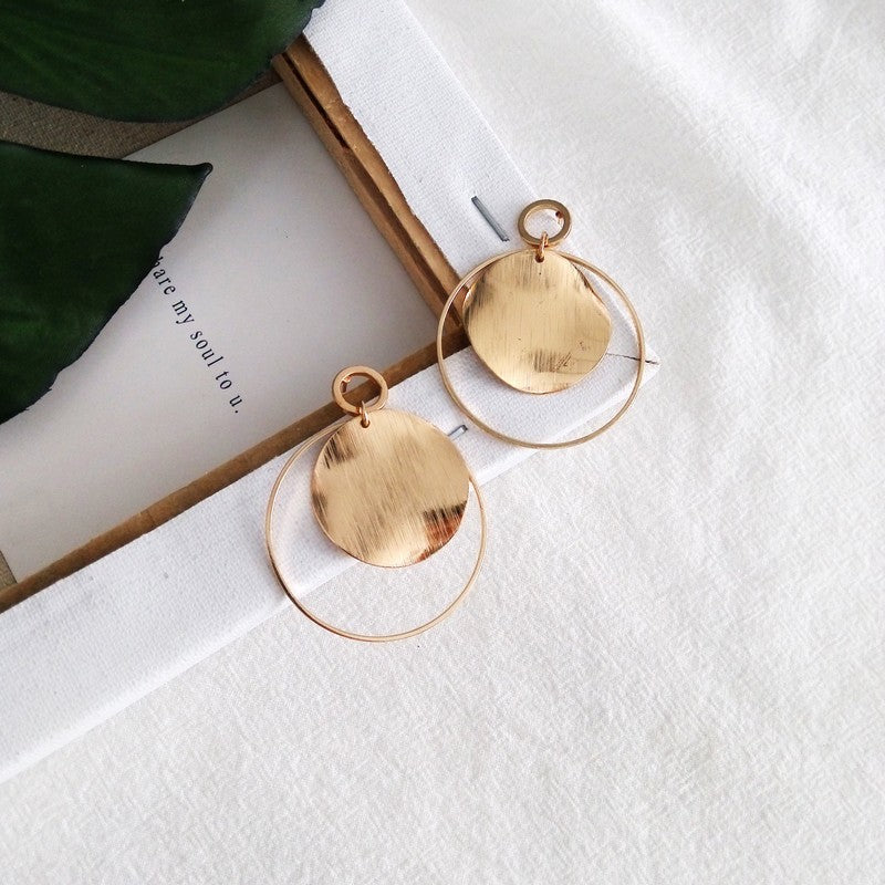 Lucette • Minimal Boho Chic Round Hand Stamped Hoop Earrings