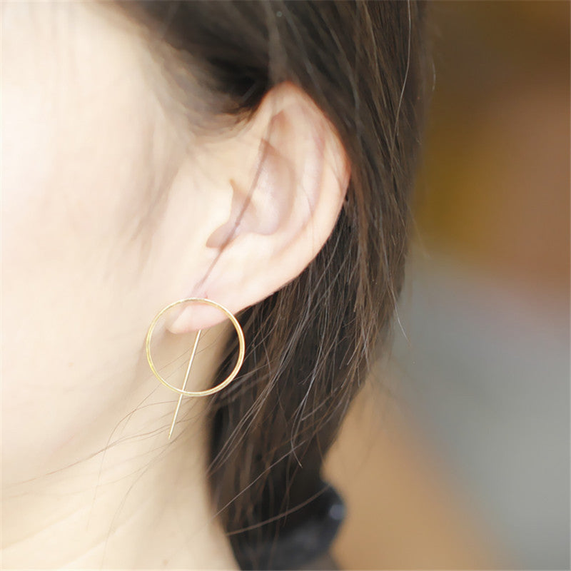 Faye • Minimal Circular Linear Cross Femenist Geometric Angle Retro Mod Earrings - lucidskins