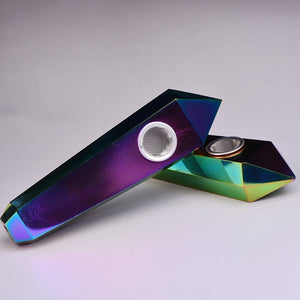Flame Rainbow Aura Pipe • Angel Aura Quartz Crystal Healing Bowl • Smoking Pipe - lucidskins